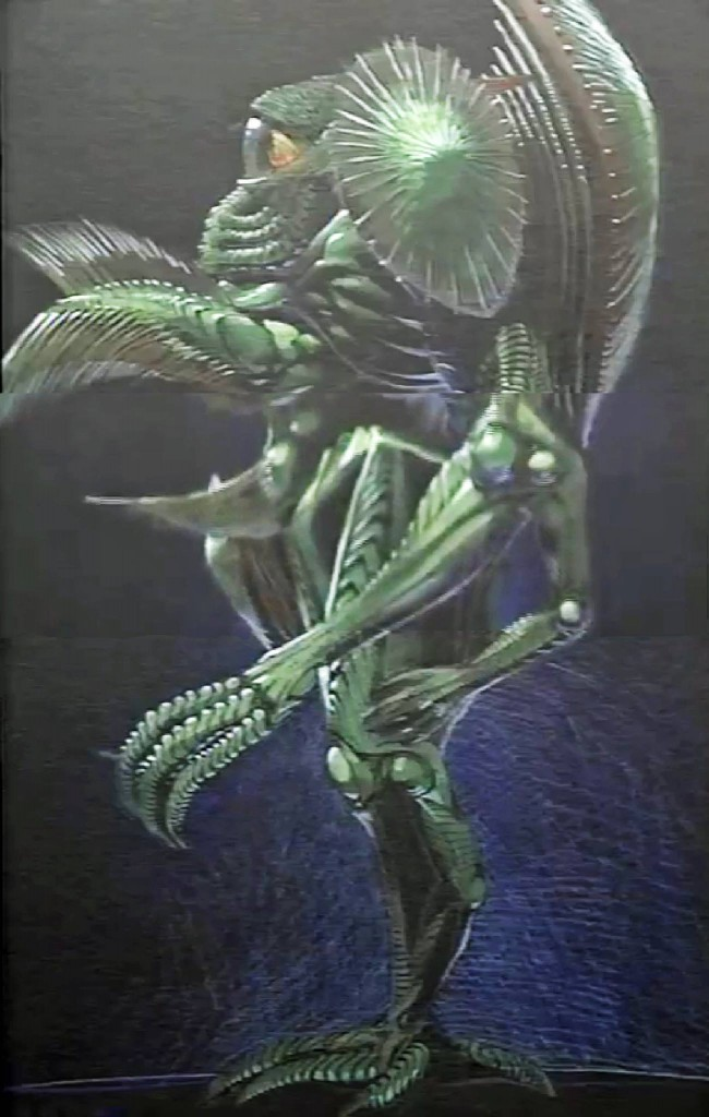 This pre-vis concept of a Zentraedi came 2 years later with the script, but shares common elements with the Zentraedi described in the initial treatment.