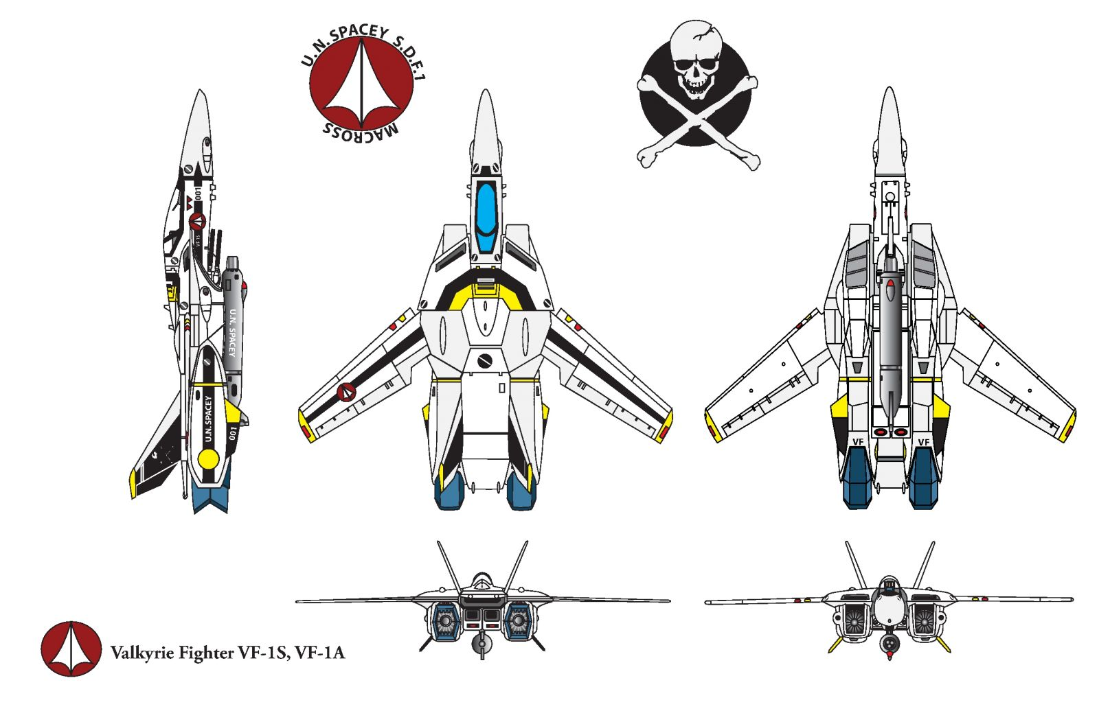Macross Vf fighter VF-1ZS skull leader Roy Focker